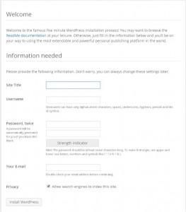 Wordpress new site install prompt