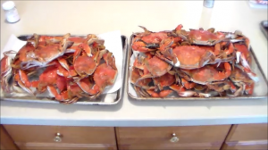 Trays of Cooked Blue Crabs