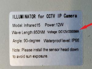IR Illuminator 2 Amps by itself